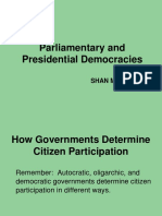 presidential and parliamentary democracies-
