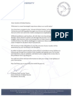 Welcoming Letter Global Studies