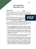 Essay Questions for Short Story Unit
