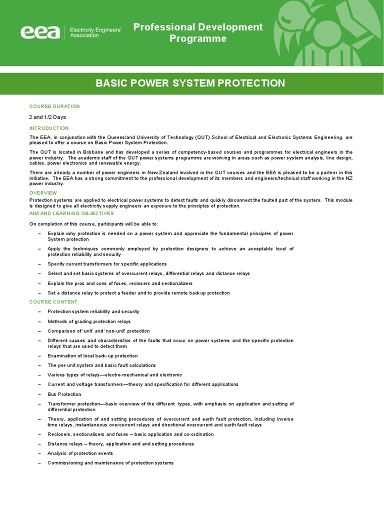 Basic Power System Protection Info 2017 Electric Relay Electrical Specification