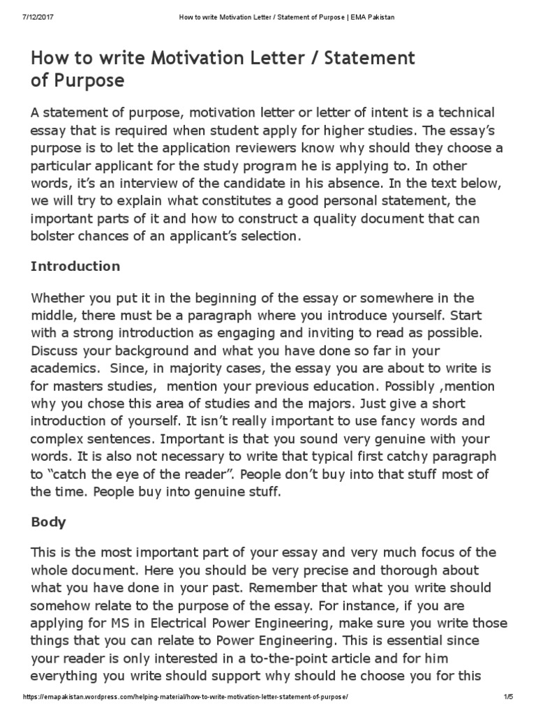 how to write motivation letter _ statement of purpose _ ema pakistan essays paragraph - Write A Motivational Letter