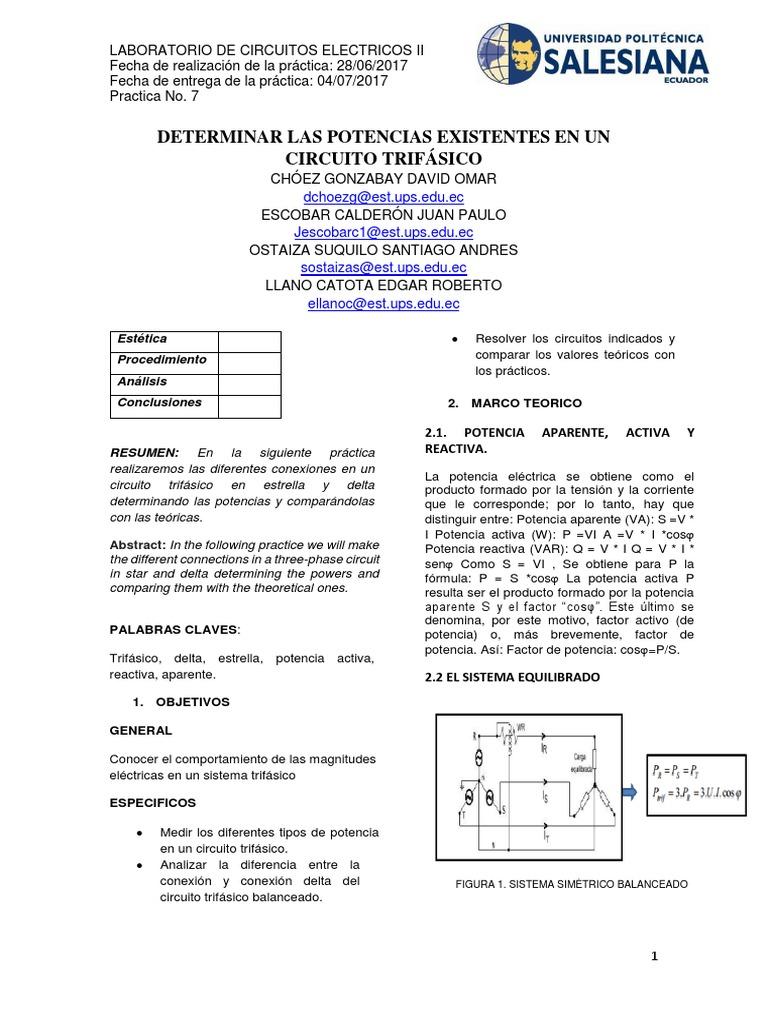 Circuito Ups : Determinar las potencias existentes en un circuito trifÁsico
