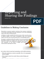 Reporting and Sharing the Findings