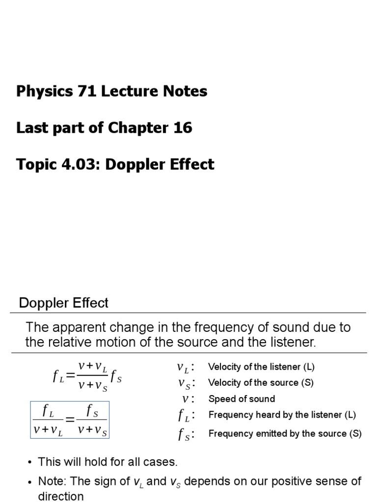 Topic403 Doppler Effect Wavelength Doppler Effect