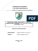 INFORME FINAL DE TESIS GESTIÓN DEL CAMBIO TECNOLÓGICO Y LA VENTAJA COMPETITIVA