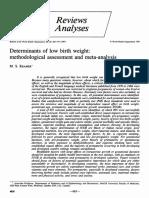 Revie Analysis- Determinants of Low Birth Weight