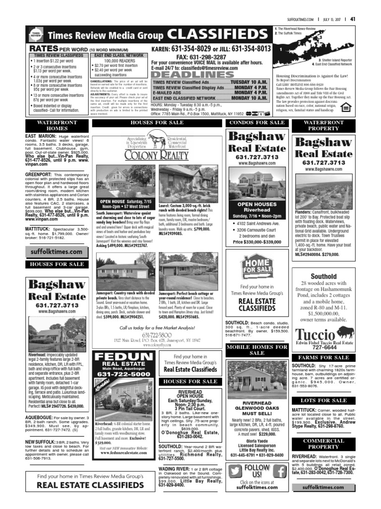 Suffolk Times classifieds and Service Directory: July 13