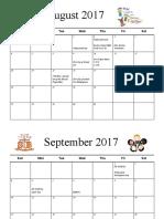 2017-2018 calendar of events