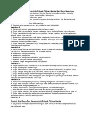 Contoh Soal Tes Karakteristik Pribadi Pdf Jawabanku Id