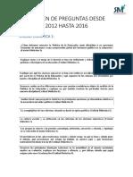 Resumen de Preguntas Desde 2012 Hasta 2016 Politica de la Educación