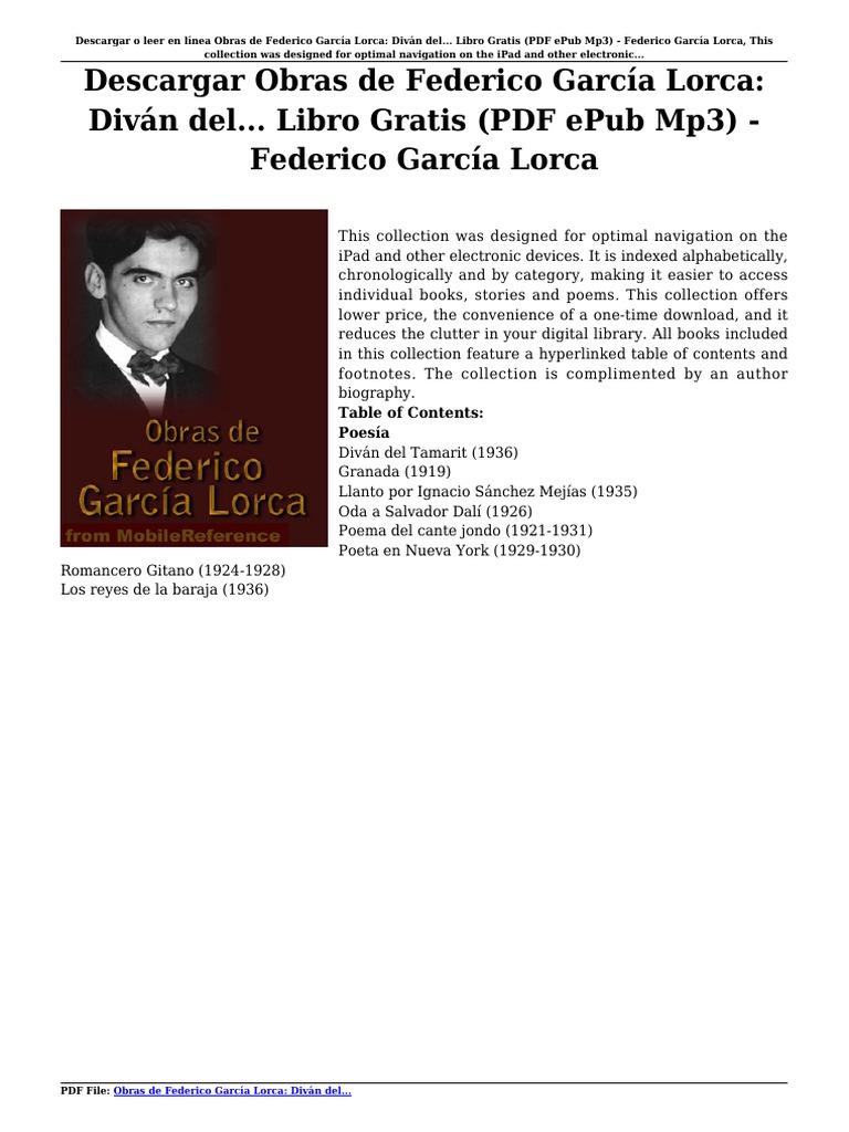 Descargar obras de federico garc a lorca div n del libro gratis pdf epub mp3 federico garc a lorca pdf