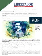 """Cierran Proyecto Hidroeléctrico """"Agua Zarca"""""""