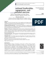 Transformational Leadership, Work Engagement & Occupational Success