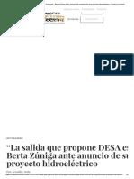 Berta Zúniga Ante Anuncio de Suspensión de Proyecto Hidroeléctrico