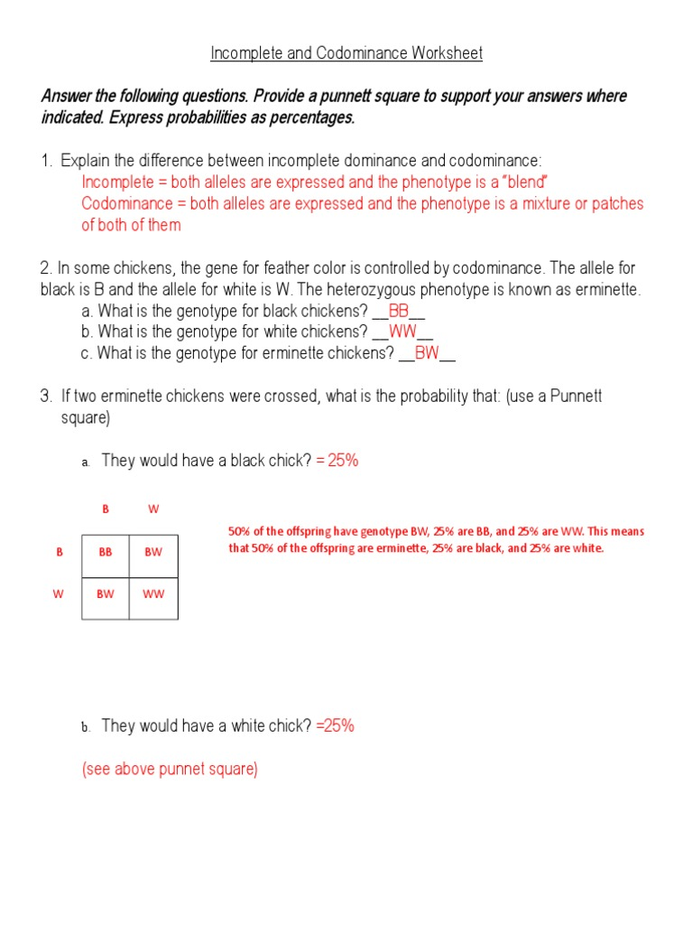 IncompleteandCodominanceWorksheet answersdoc – Genetics Worksheet Answers