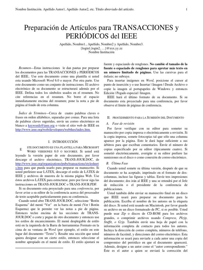 Lujoso Ieee Plantilla De Transacciones Colección - Colección De ...
