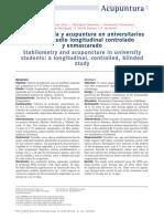 Estabilometría y acupuntura en universitarios según estudio longitudinal controlado y enmascarado