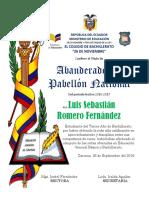Diploma Abanderados Colegio 26 de Noviembre
