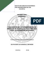 EVALUACIÓN DE LA FERMENTACIÓN DE MEZCLAS DE SUERO LÁCTICO Y MELAZA PARA LA OBTENCIÓN DE ETANOL