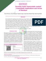 Uso de Matriz de Gelatina Trombina e Implicaciones en Anestesia y Coagulación