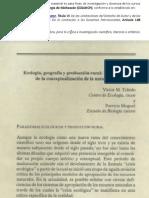 Ecologia, Geografia y Produccion Rural
