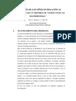 Percepción de Los Niños en Relación Al Proyecto de Ley N 2647 2013 CR Unión Civil No Matrimonial 2 de Julio Del 2014