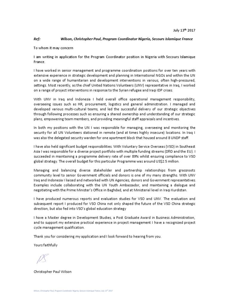 Wilson C Paul Cover Letter Program Coordinator Nigeria SECOURS ...