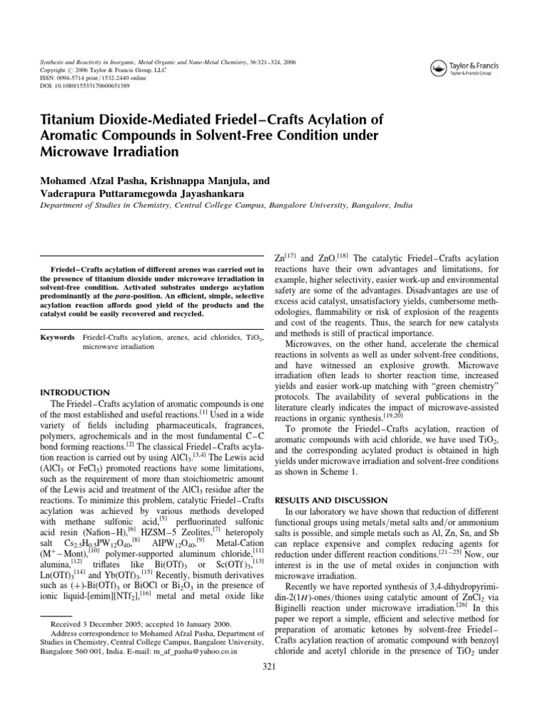 Titanium Dioxide-Mediated Friedel–Crafts Acylation of Aromatic