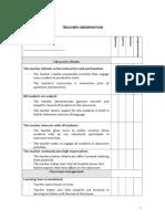 Teacher Observation Schedule