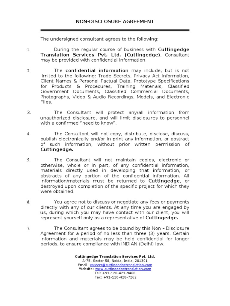 NDA CTS   Confidentiality   Non Disclosure Agreement