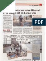 Le Progrès - La liaison piétonne entre Ménival et le Village est en bonne voie