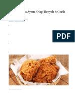 Resep Praktis Ayam Krispi Renyah
