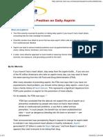 FDA Reverses Its Position on Daily Aspirin Use