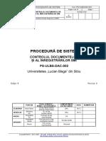 PS-ULBS-DAC-002 - Controlul Documentelor Si Al Inregistrarilor