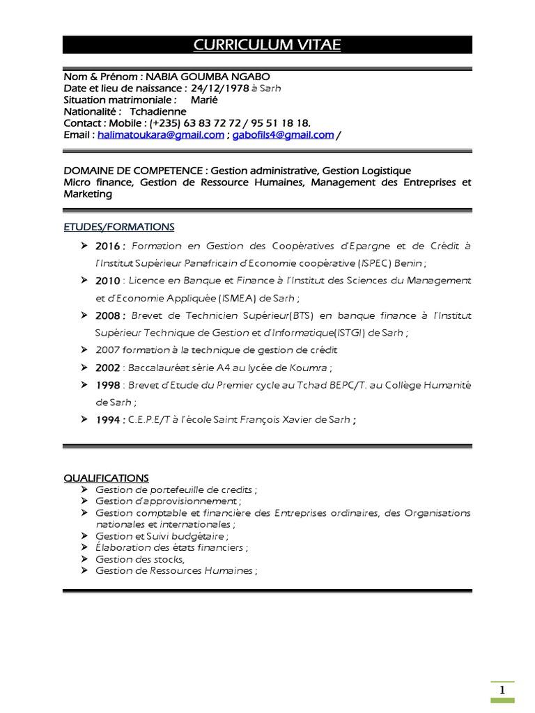 cv detaill u00e9 nabia pdf logistique