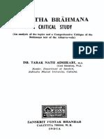 Gopatha Brahmana a Critical Study