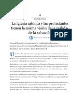 La Iglesia Católica y Las Protestantes Tienen La Misma Visión de La Realidad de La Salvación