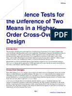 Equivalence Tests for the Difference of Two Means in a Higher-Order Cross-Over Design
