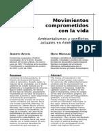 Movimientos compometidos con la vida. Ambientalismos y conflictos actuales en América Latina