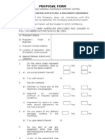 CONTRACTORS PLANT & MACHINER Y INSURANCEProposal Form