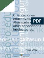 Orientaciones Educativas. Alumnado Con Altas Capacidades Inte;Ectua;e