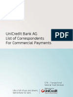 UNICREDIT AG List of Correspondents for Commercial Payments