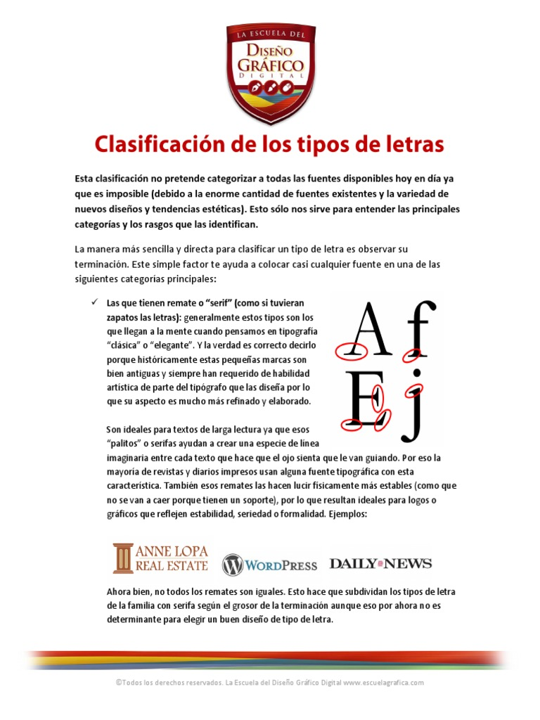 Clasificación De Los Tipos De Letras Serif Tipografía