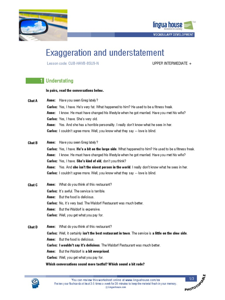 Workbooks understatement worksheets : Exaggeration and understatement.pdf