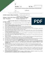 M Sc Entrance (Nuclear Medicine) - Panjab University 2013 (Key)