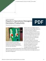 PepsiCo's Operations Management, 10 Decisions, Productivity - Panmore Institute
