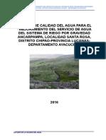 Analisis de Calidad Del Agua Para Obra de Irrigacion