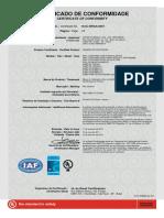 Certificado Conformidade Câmaras de Contenção 2012 - InMETRO