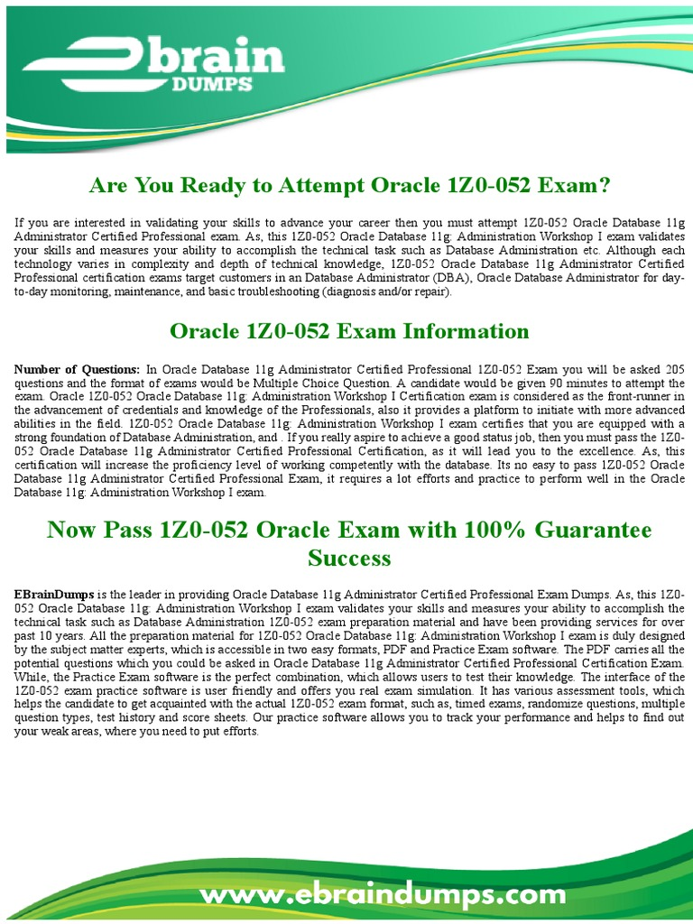 1z0 052 dumps oracle database administration exam professional 1z0 052 dumps oracle database administration exam professional certification test assessment 1betcityfo Image collections