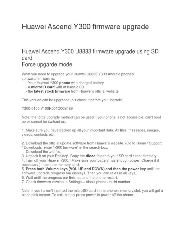 Huawei Ascend Y300 Firmware Upgrade | Secure Digital | Booting
